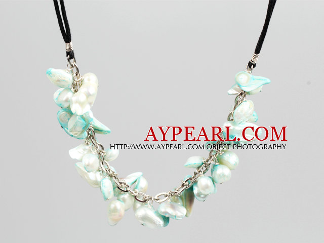 New Arrival Green and White Color Teeth Shape Pearl Necklace with Lobster Clasp