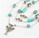 75 inches turquoise long style necklace with charm