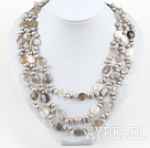 Multi Strands Pearl and Persian Gray Agate Necklace