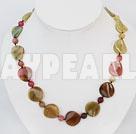 Elegant Round And Irregular Shape Three Colored Jade Strand Necklace With Moonight Clasp