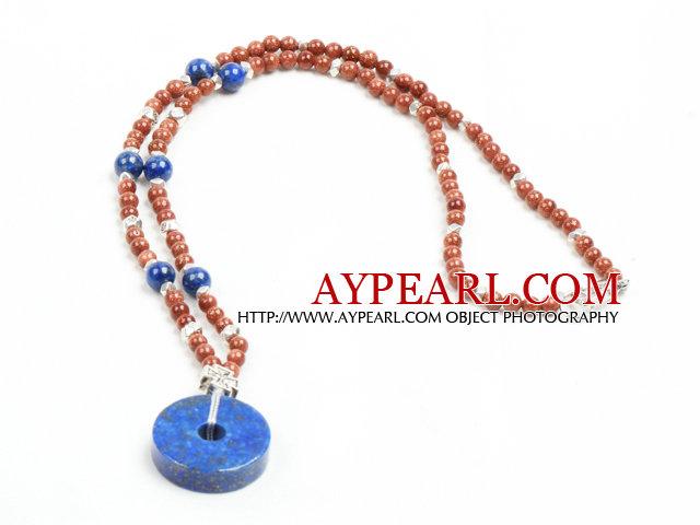 Classic Design Golden Sandstone Beads Lapis Pendant Necklace