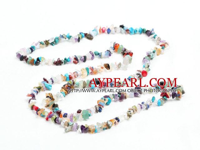Fashion Long Style Multi Gemstone Chips Necklace