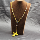 Wholesale Classic Design Fashion Long Y Shape Yellow Frosted Banded Agate Necklace With Cross Shape Turquoise Pendant