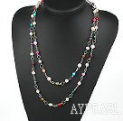 Wholesale 47 inches seven colored pearl long style necklace