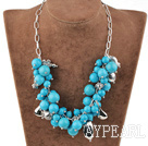 Wholesale elegant blue turquoise necklce with metal chain and lobster clasp