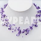 Wholesale 18 inches purple shell necklace with toggle clasp