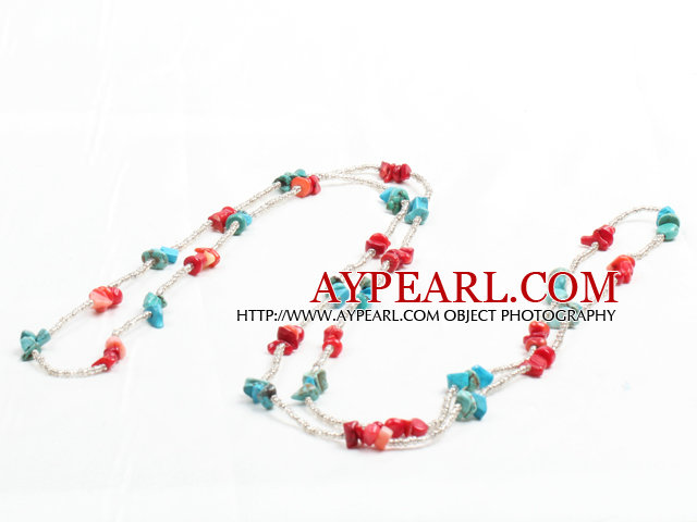 Fashion Long Style Red Coral Blue Turquoise Chips Necklace