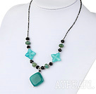 Wholesale black crystal and blue jade necklace