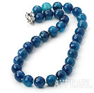 14mm blue agate beaded necklace with moonlight clasp