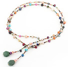 Wholesale fashion long style dyed colorful pearl necklace