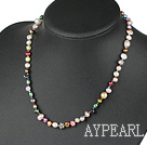 dyed colorful pearl necklace with lobster clasp