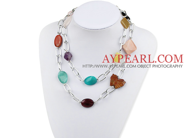 39 inches multi color multi stone long style necklace with metal chain
