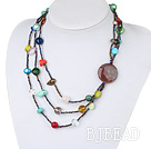 multi color stone necklace multi farge stein halskjede