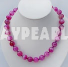 Wholesale 14mm pink agate necklace with spring ring clasp