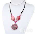 Wholesale 17.5 inches pink agate necklace with lobster clasp