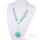 Wholesale turquoise Y shaped necklace with metal chain and lobster clasp