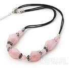 17.5 inches rose quartz necklace with lobster clasp