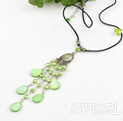 Wholesale dyed green pearl shell necklace with lobster clasp