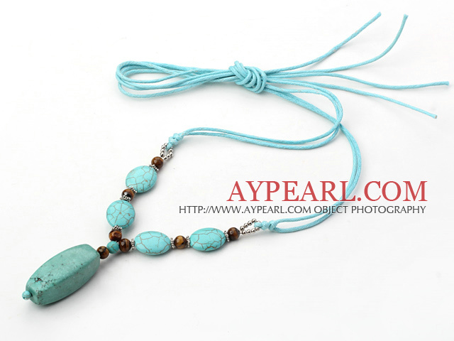 turquoise and tiger's eye Y shaped necklace