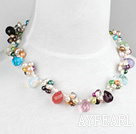 Fashion Dyed Colorful Pearl And Multi Teardrop Stone Beads Necklace