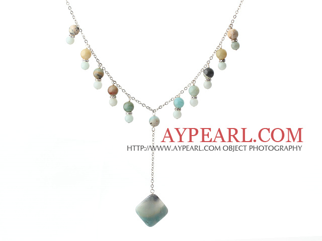 Round amazon stone beaded y shape necklace with metal chain