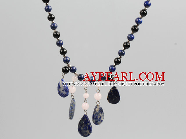 Black Agate and Lapis and Rose Quartz Stone Tassel Statement Necklace