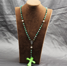 Wholesale Classic Design Fashion Long Y Shape Green Frosted Banded Agate Necklace With Bright Green Cross Shape Turquoise Pendant