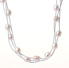 Amazing Fashion Three Strands Natural White Freshwater Pearl Leather Necklace