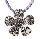 New Arrival Simple Style Tibet Silver Flower Pendant Necklace with Purple Leather and Magetic Clasp