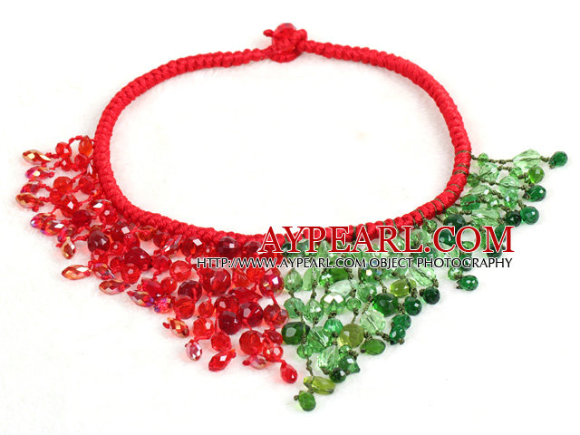 Luxurious Sparkly Symmetric Red & Green Crystal Christmas Statement Tassel Hand-Knitted Necklace
