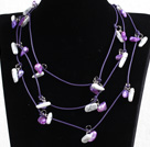 Fashion Long Style Purple Series Natural Pearl Shell Stone Chips Necklace(Sweater Chain)