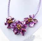 Wholesale Elegant style smaller purple pearl shell flower necklace