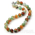 17.5 inches crazy agate beaded necklace with moonlight clasp