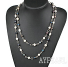 Wholesale 47 inches whtie and black pearl long style necklace
