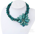 Multi Strand Green Coral and Green Shell Flower Necklace