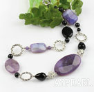 Wholesale agate and loops necklace with moonlight clasp