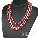 3 strand red coral and white pearl necklace