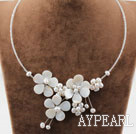 Wholesale White Freshwater Pearl and Shell Flower Necklace with Glass Beads Chain