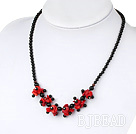 Wholesale 17.5 inches black agate and red coral necklace with lobster clasp