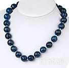 Wholesale 14mm blue agate necklace with spring ring clasp