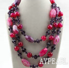 Wholesale Pink Purple Series Three Strands Faceted Pink Agate and Purple Crystal Big Style Necklace