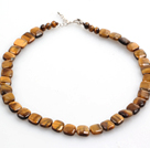 Square Shape Tiger Eye Stone Choker Necklace with Heart Clasp