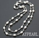 Wholesale fashion long style pearl and crystal necklace
