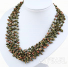 Wholesale multi strand green piebald stone neckalce with shell flower clasp