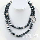 Long Style Round Gray Black Color Seashell Beaded Necklace with Rhinestone Beads