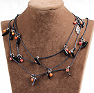 Long Style Round Light Gray Color Seashell Beaded Necklace with Rhinestone Beads