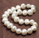 Chunky Big Potato Shape White Color Sea Shell Beads Necklace with Magnetic Clasp