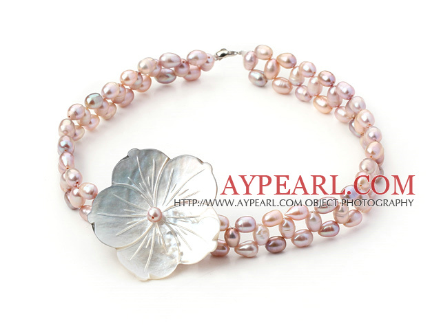 natural purple pearl and shell flower choker necklace with lobster clasp