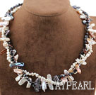 Three Strands Black and White Biwa Pearl Necklace