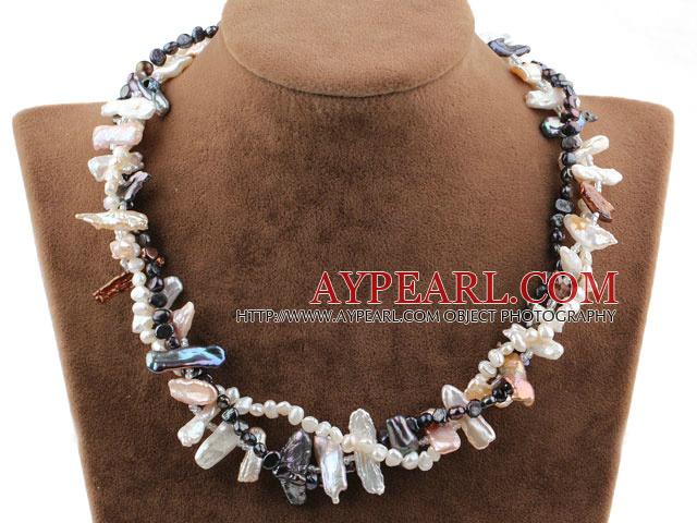 Three Strands Black and White Biwa Pearl Necklace